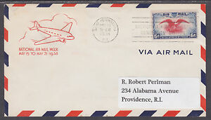 US-Planty-C23-22-FDC-1938-6c-Air-Post-w-St-Petersburg-Florida-First-Day-X