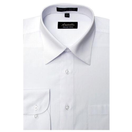 Mens Dress Shirt Plain White Modern Fit Wrinkle-Free Cotton Blend Amanti
