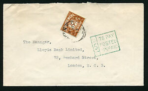 1956 5d BROWN-OCHRE ST.EDWARD CROWN WMK POSTAGE DUE COVER. SG D52