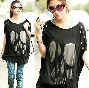 USS-L82-Women-Korea-Begger-Skull-Loose-Long-Hollow-Punk-Gothic-Top-T-shirts-XL