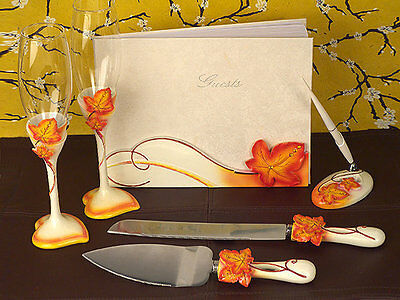 Autumn Fall Leaf Wedding Bridal Accessory Set Toasting Glasses Guest Book