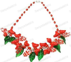 BIRDS-LEAVES-murano-RED-cardinal-GLASS-BEAD-NECKLACE-vintage-beads-bird-leaf