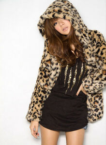 Lady-s-Women-Short-Hairy-Leopard-Print-Faux-Fur-Long-Sleeved-Hoodie-Jacket-Coat
