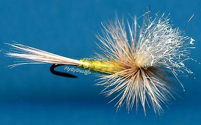 Parachute Sulfur Poly Post Fly Fishing Flies - Twelve NEW Hook Size 14 Flies