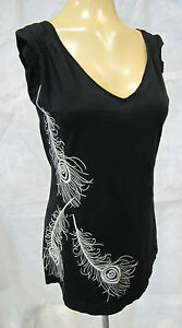 JWLA-JOHNNY-WAS-TANK-TOP-BLK-EMBROIDERED-SILVER-PEACOCK-FEATHERS-SLEEVLESS-M-NWT