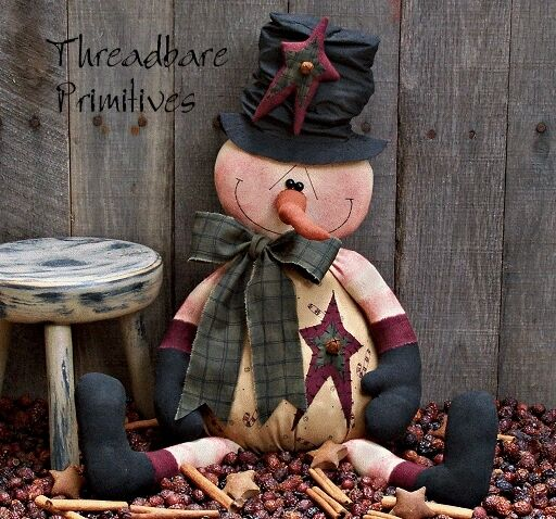 PATTERN Primitive Christmas Snowman Doll w/ Carrot Nose Stove Pipe Hat FREE SHIP