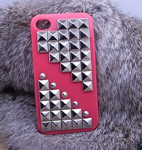 Silver-Pyramid-Studded-for-Iphone-case-cover-iphone-4-red-hard-case