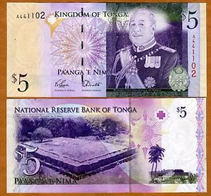 Tonga-Kingdom-5-Pa-039-anga-ND-2008-2009-Pick-39-A-prefix-UNC