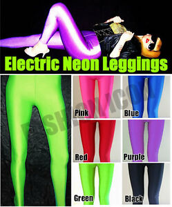 80s-Disco-Rave-Green-Opaque-Glossy-Shiny-UV-Lycra-Spandex-Leggings-Pants-Tights