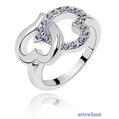 Fashion Beautiful Crystal Heart Linked to heart Ring Double Heart Rings