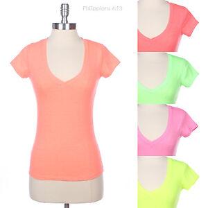 Basic-Plain-SOLID-V-Neck-Short-Sleeve-COTTON-TOP-T-SHIRT-13-colors-S-M-L