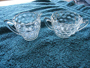 Vintage-Fostoria-EARLY-AMERICAN-CLEAR-Cream-and-Sugar-for-Tea-Set-2-1-4-034