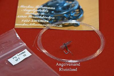 knotenlos verjüngtes 3x Nylon-Fliegenvorfach  0,20er Spitze 3,1kg 9ft 2,75 Meter
