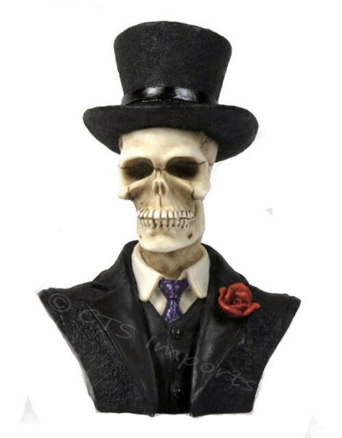 NEW Skulls & Skeletons Groom Wedding Cake Topper Bust Figurine