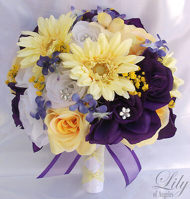 Purple lavender plum eggplant collection on ebay 17pcs wedding bridal bouquet set decoration package silk flowers purple yellow mightylinksfo
