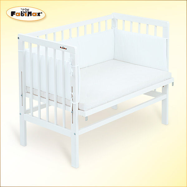 FabiMax Beistellbett BabyMax basic weiß, inkl. Matratze und Nest Amelie weiß