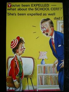 POSTCARD-COMIC-SEASIDE-HUMOUR-YOU-039-VE-BEEN-EXPELLED-WHAT-ABOUT-SCHOOL-CERT