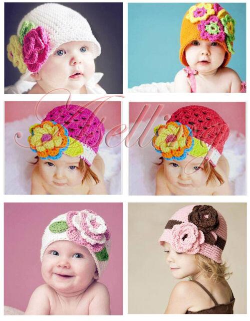 Baby Girl Toddler Cute Handmade Flower Knit Crochet Beanie Hat Cap Headband O10