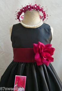 Black burgundy wedding christmas children flower girl dress all size