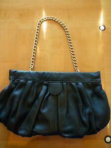 STEVEN-Steve-Madden-Convertible-Black-Leather-Clutch-Chain-Strap-Shoulder-Bag