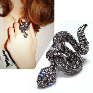 Fashion-Cool-Cute-Punk-Style-Bling-Rhinestone-Snake-Ring-New-BE0D