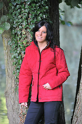 LADIES NEW HUNTER OUTDOOR RED DIAMOND QUILTED JACKET / COAT  ALL SEASON  XS, S