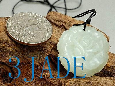 Natural Hetian White Nephrite Jade Rose Flower Pendant / Necklace / Carving