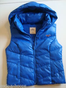 Womens-HOLLISTER-Fletcher-Cove-Down-Vest-NEW-With-Hood-Blue