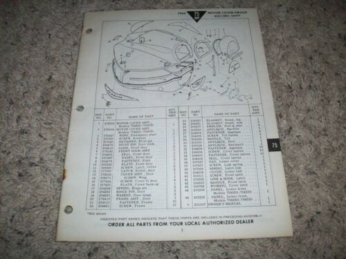 1964 EVINRUDE 75 HP OUTBOARD ELEC SHIFT PARTS MANUAL O.E.