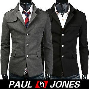 PJ-Hot-Men-039-s-Premium-Short-Single-Pea-Coat-Trendy-Jacket-US-SZ-XS-L-Black-Grey