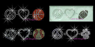 PEACE LOVE FOOTBALL RHINESTONE IRON ON TRANSFER HOT FIX