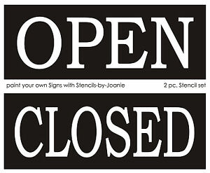 2 Pc Stencil Open Closed Make Your Own Business Shop
