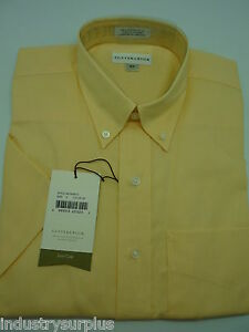 NEW-Cutter-amp-Buck-Men-039-s-Yellow-Button-Down-Wrinkle-Resistant-SS-Shirt-Size-S