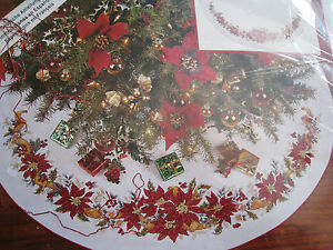 Needle Treasures Christmas Holiday Counted Cross Tree Skirt KIT,POINSETTIA,02940
