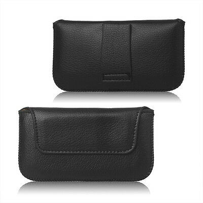 BLACK LEATHER BELT LOOP POUCH HOLSTER POCKET CASE COVER HOLDER MAGNETIC FASTENER
