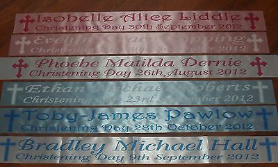 PERSONALISED CHRISTENING, BAPTISM, NAMING DAY BANNER DIFFERENT PRINT COLOURS!!!