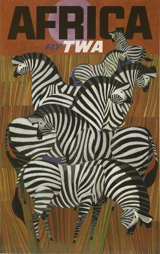 TWA Flights to Africa Poster A3 Reprint
