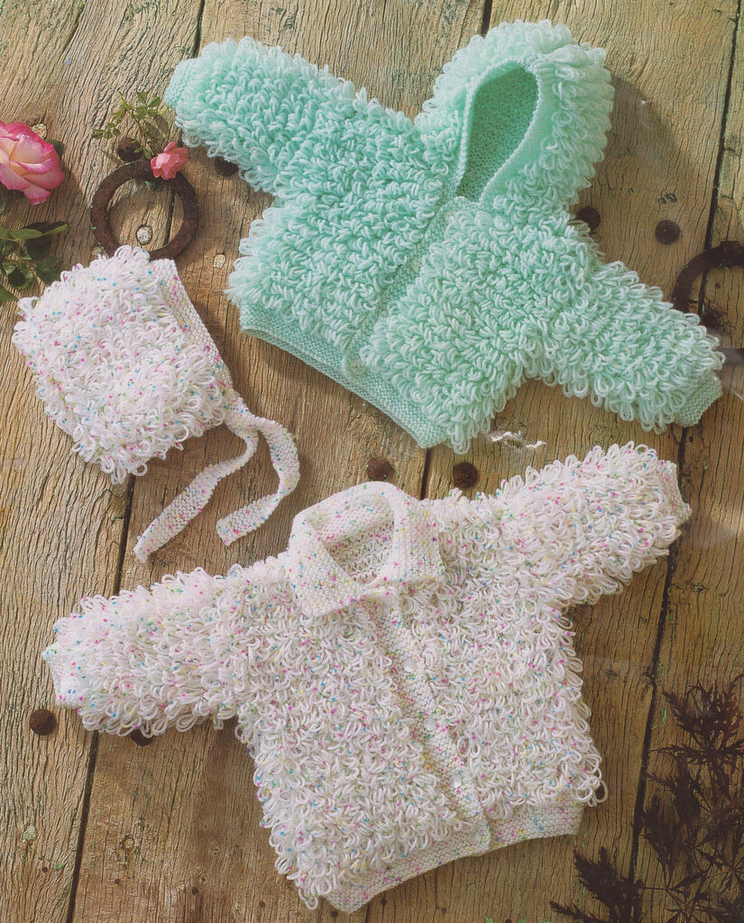 Loopy Hooded Baby Jacket, Collared Cardy & Bonnet Knitting Pattern ...