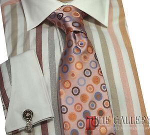 Dress-Shirt-by-Steven-Land-French-Cuffs-Cotton-Multi-Color-DS991-Brown
