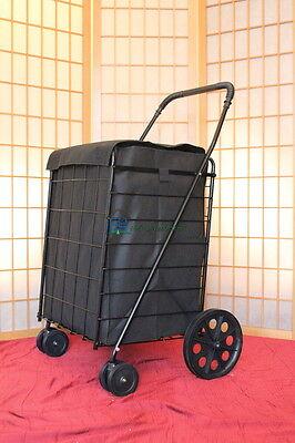 Black Large Folding Shopping Cart w Black Liner Swivel Rotating Wheels Laundry
