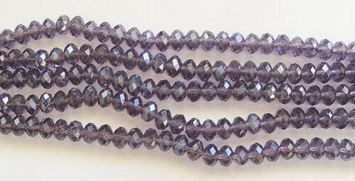 25 Cristal Washer//Abacus perles de verre Foncé Améthyste 8 mm x 6 mm