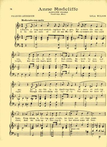 "MASS Vintage RADCLIFFE COLLEGE song sheet /""ANNE RADCLIFFE/"" c/'38  CAMBRIDGE"