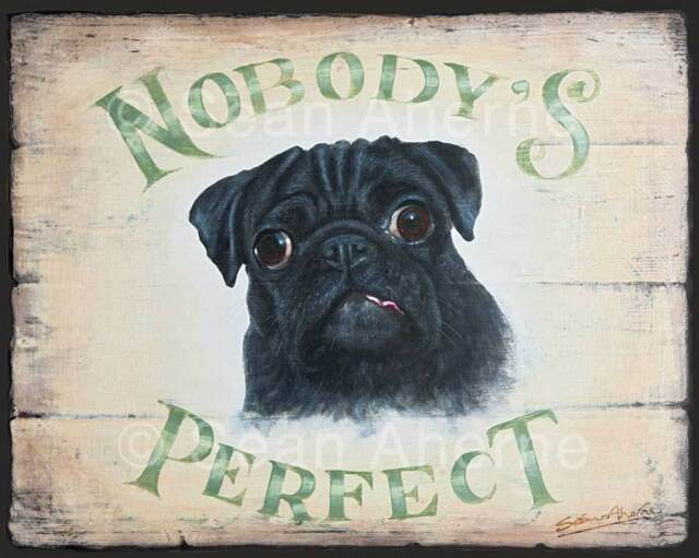 Black Pug Dog Shabby Chic Wooden Sign Plaque Print Picture Art for Dog Lovers