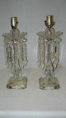 Vintage Pair of Etched Clear Glass Ornate Table Lamps with Glass Spear Prisms