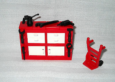 LEGO 4 DRAWER & 2 CABINET TOOL BOX,TOOL CHEST FOR MINIFIGS, 7 TOOLS & HAND TRUCK