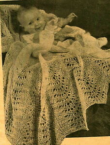 Vintage knitting pattern- sweet lace knit baby heirloom ...