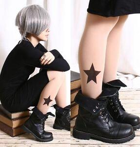 SUPER-Big-STAR-Tattoo-Punk-Rock-EMO-Semi-Opaque-Matte-Skin-Tone-Tights-Pantyhose