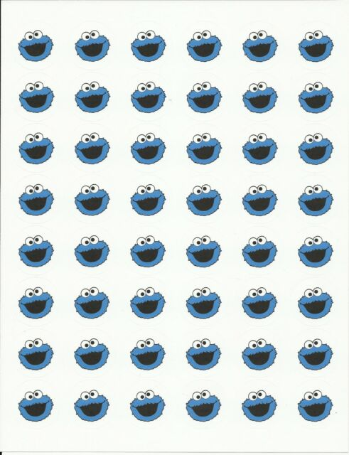 "48 Cookie Monster Envelope Seals / Labels / Stickers, 1.2"" Round"