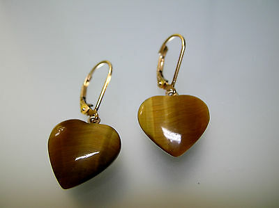 Top quality natural Tiger Eyes heart shape leverback earrings in Solid 14k gold