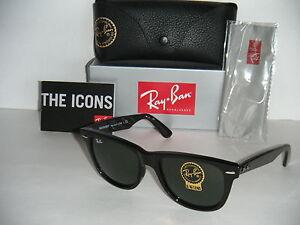 ray ban classic wayfarer black  Ray Ban ORIGINAL WAYFARER RB 2140 901 54MM BLACK G-15XLT LARGE